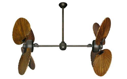 """Twin Star III Oil Rubbed Bronze Dual Ceiling Fan with 50"""" Walnut Series 900 Arbor Blades   Dan's Fan City"""