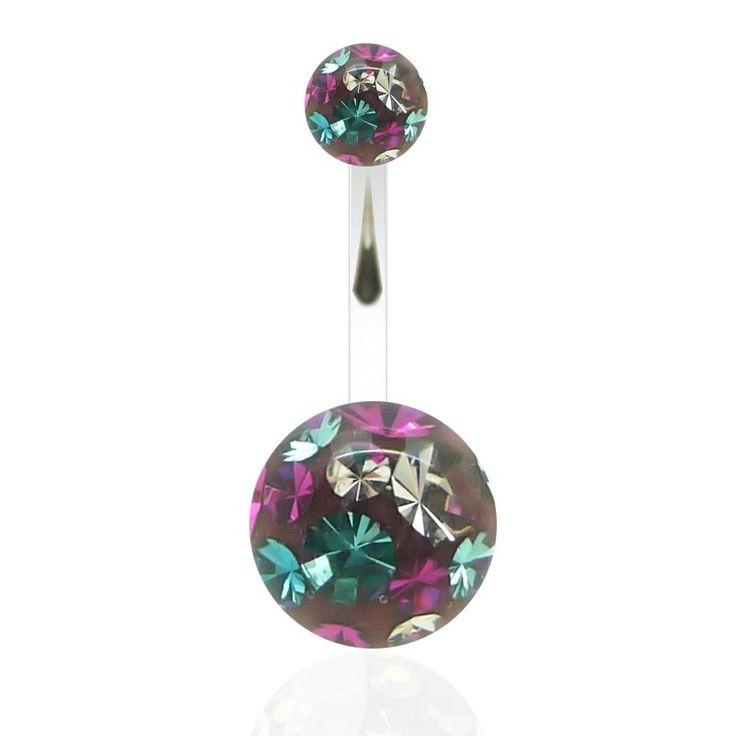 Bijou de nombril avec barre en acier chirurgical et boules en cristal de Swarovski. Découvrez sur C-Bo, des bijoux de qualité pour les piercing