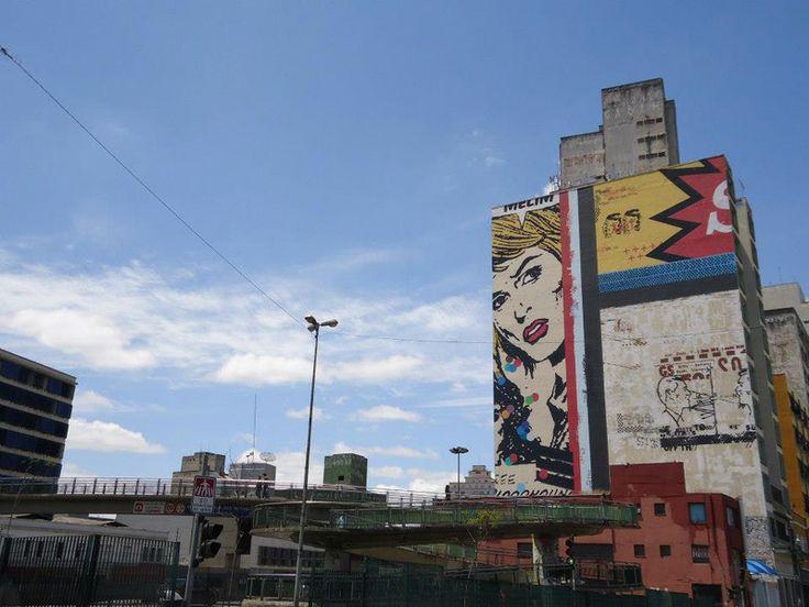 Daniel Melim na Avenida Prestes Maia (em frete à Pinacoteca do Estado). Mural gigantesco, cobre uma área de 40 metros de altura por 30 de largura aproximadamente e foi produzido em 20 dias. O artista usou a técnica do estêncil – talvez esse seja um dos maiores trabalhos já realizados nessa técnica.