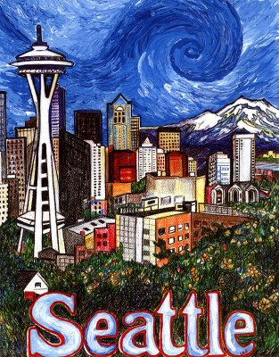 Space Needle Swirl in Sky Mixed Media at ArtistRising.com