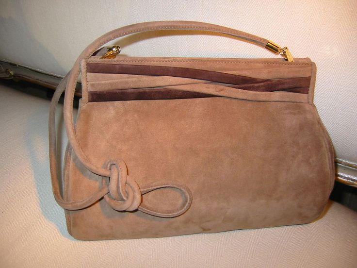 Designer Salvatore Ferragamo Camel Clutch Handbag Brown Leather Suede