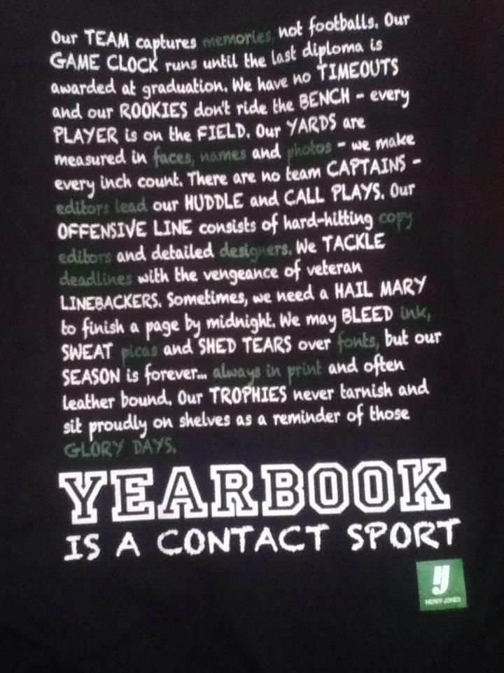 voice: confident this copy is unexpected because it treats yearbook as a sport, which is different from just talking about the usual things yearbook does