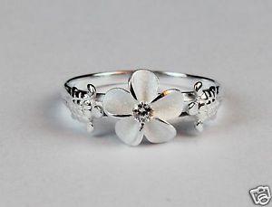 925 Sterling Silver Hawaiian Hibiscus Plumeria Ring Sea Turtle CZ Band Shiny | eBay