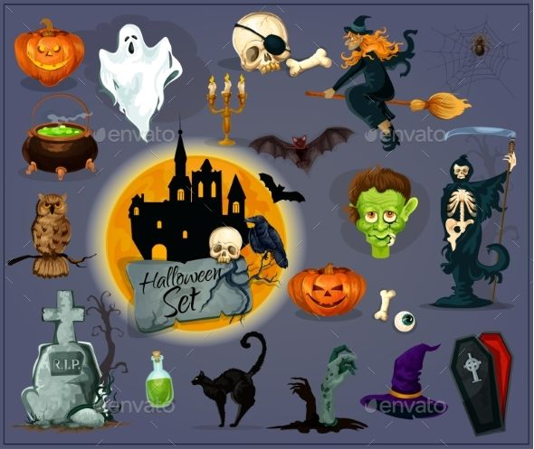 Halloween Cartoon Characters Icons and Elements