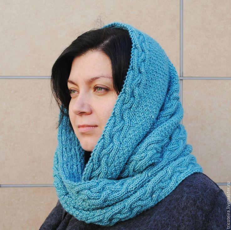 Купить Снуд вязаный Скандинавский - морская волна, вязаный шарф, снуд вязаный, шарф, снуд