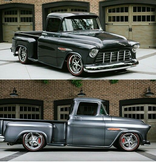 Beautiful Tri-Five Chevy truck. Stance, red-wall tires....