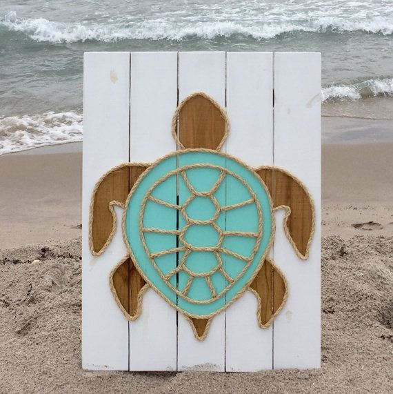 Handmade Turtle with Rope© Beach Pallet Art by BeachByDesignCo