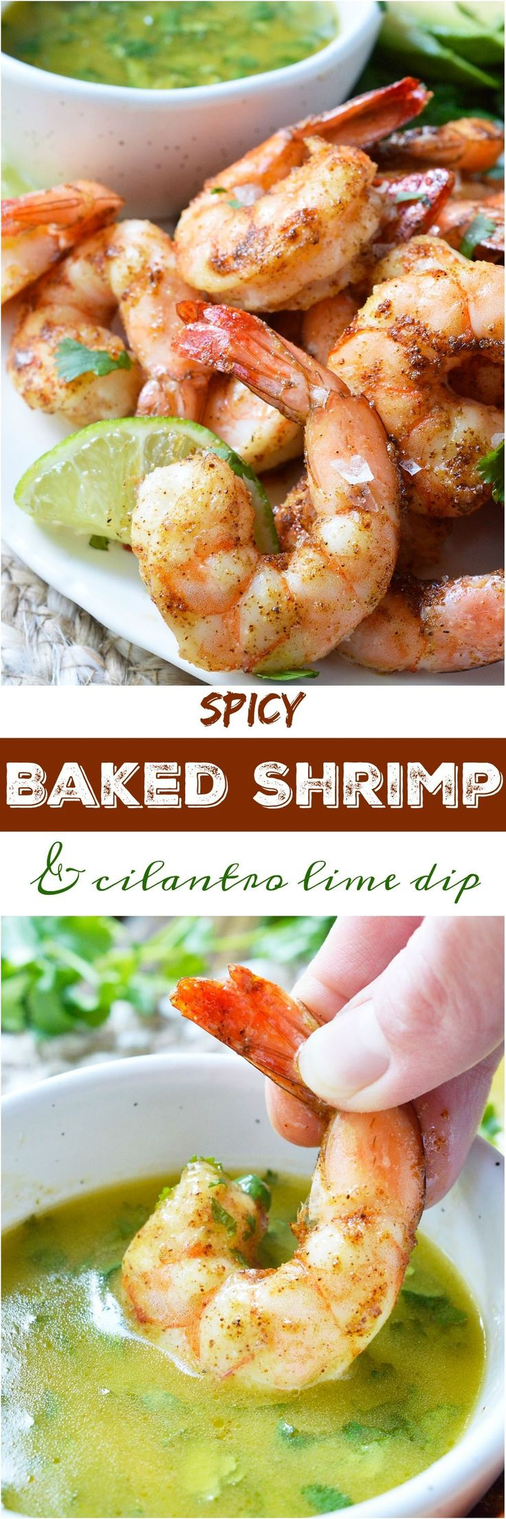 For punch in the face flavor, make these Cilantro Lime Spicy Baked Shrimp! This Whole30 compliant recipe starts with shrimp covered in spices, baked to perfection then served with a fresh cilantro lime dip. Perfect for a healthy lunch, dinner, appetizer or a snack!