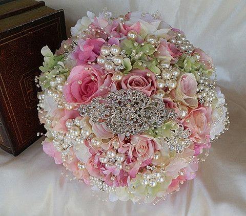 Vintage Pink & Pearl Brooch Bouquet | Custom shabby chic Bridal Brooch Bouquet Wedding – Glam Bouquet