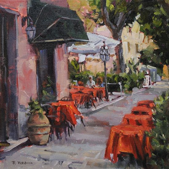 Rachel A Pettit - Caff� All'aperto- Oil - Painting entry - August 2015 | BoldBrush Painting Competition