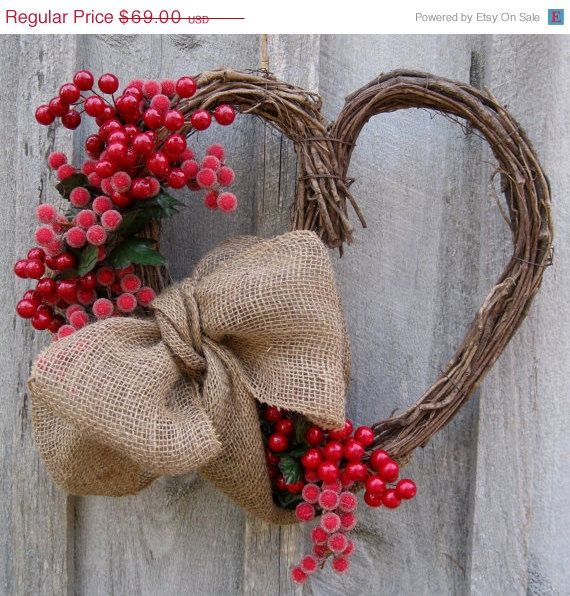 Heart Wreath Country Cottage Primitive Berries by NewEnglandWreath, $55.20