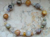Armband mit echten Edelsteinen (Bambusachate etc.)