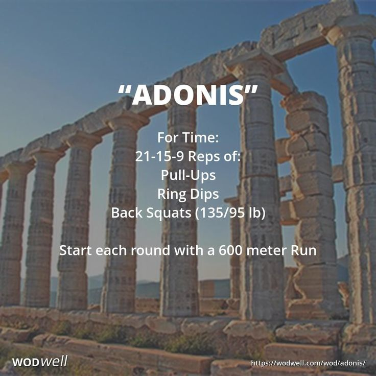 """""""ADONIS"""" Benchmark WOD: For Time: 21-15-9 Reps of: Pull-UpRing Dips; Back Squats (135/95 lb); Start each round with a 600 meter Run."""