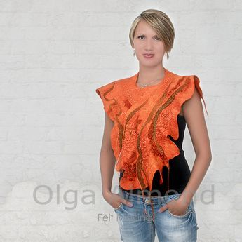 Tangerine tangoScarfcapeletCapeletNuno felted merino by OlgaAlmond, $99.00