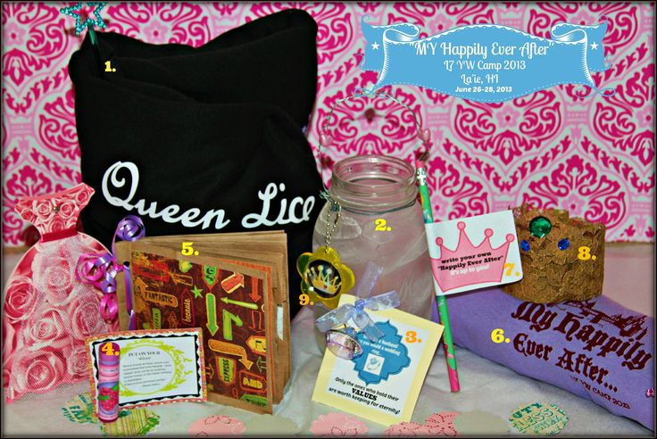 "My goodies from L7 YW Camp 2013. ""MY Happily Ever After"" 1. my QUEEN hoodie 2. frosted glass 3.RING handout 4. LIPGLOSS handout 5. PAPERBAG JOURNALS 6. ""MY Happily Ever After"" t-shirt 7.  Pencil handout 8. LACE TIARA 9. MIRROR handout missing:  Belle's rose, Rapunzel's lantern, princess chimes out of recycled plastic bottles. *BEST girl's camp EVER!!!"
