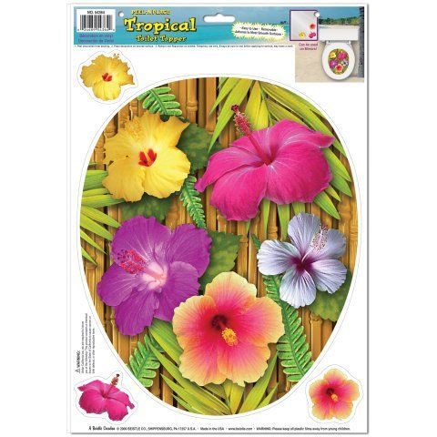 Tropical Toilet Topper Peel 'N Place (3 hibiscus included) Party Accessory  (1 count) (1/Sh) Beistle http://www.amazon.com/dp/B00559UHIG/ref=cm_sw_r_pi_dp_ApPJtb1P7QV6SET4