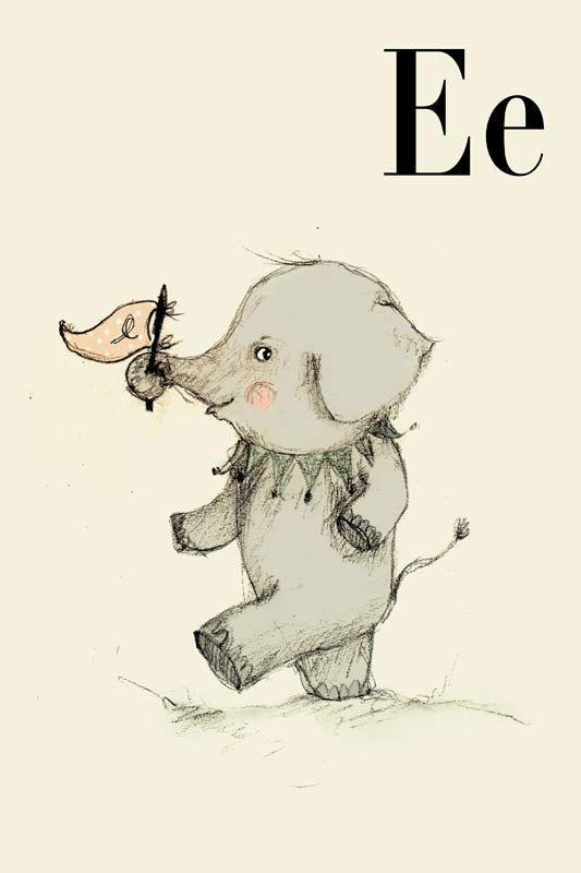 E for Elephant, Alphabet animal,  Print 8x11 inches