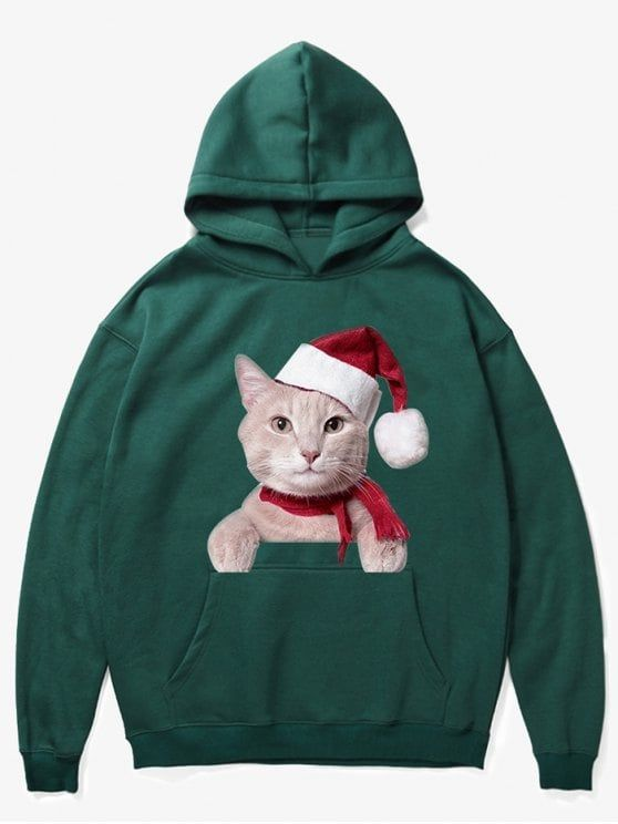 Kangaroo Pocket Christmas Cat Pattern Hoodie - MEDIUM SEA GREEN  ZAFUL   Christmas  hoodies 8163e2c603cc