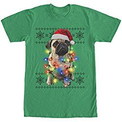 Lost Gods Ugly Christmas Sweater Pug Lights Mens Graphic T Shirt