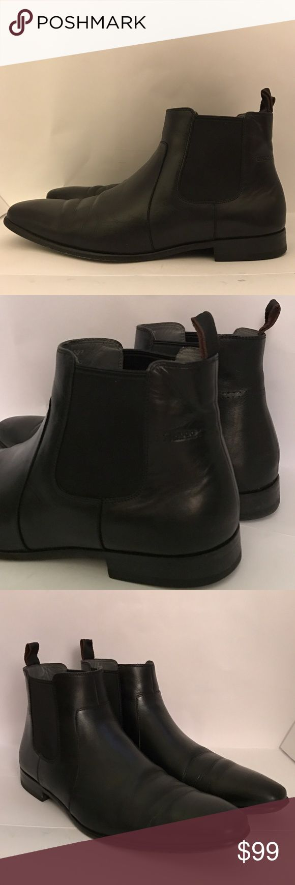 HUGO BOSS Black Leather Ankle Boots Gently used in great condition. High upper. Blake stitching. Long toe. Leather sole. Leather insole. Leather interior. Logo on underside of sole. Elastic on either side of the ankle. Smooth and textured leather. Color: black . Size US 10.5 Hugo Boss Shoes Boots
