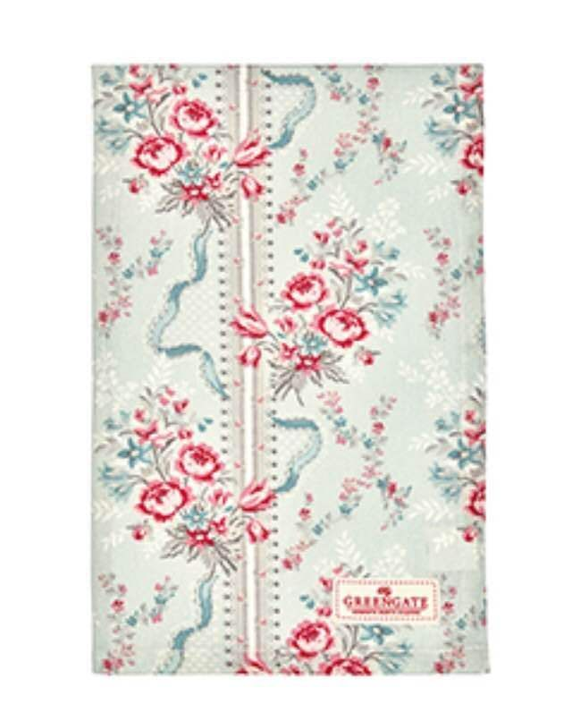 GreenGate Floral Betty Mint Tea Towel