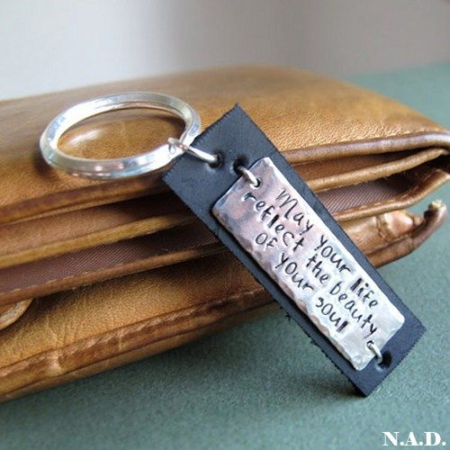 Hand Stamped Keychain. Personalized Leather Key Chain for Men