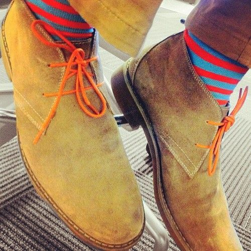 Desert Boot x Colored Laces x Striped Sock Swag