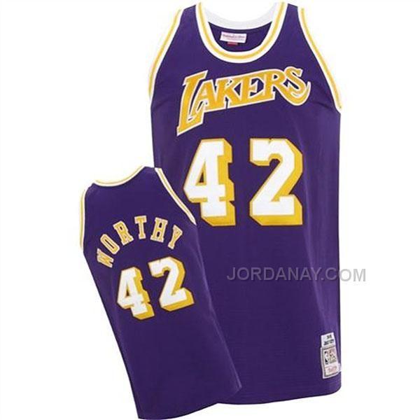 cbb65481c Magic Johnson Los Angeles Lakers Mitchell Ness 1984-85 Hardwood Classics  Swingman Jersey - James Worthy Mitchell Ness Los Angeles Lakers Road Jersey