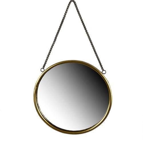Lustro w stylu skandynawskim okrągłe, ścienne w metalowej ramie. Kolor złoty. Lustro posiada