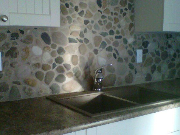 river rock backsplash kitchen google search