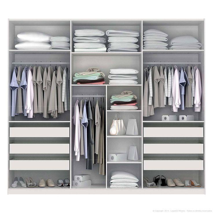 Compre Guarda-roupa 3 portas de correr com espelho Branco - Kappesberg em Promoção com ✓ Até 12x ✓ Fretinho