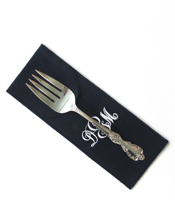 """Anti Tarnish Silverware Flatware Storage 3 1/2"""" x 10"""" Monogrammed for Sterling Silver Flatware - Serving Spoon - Simple Elegance Collection"""