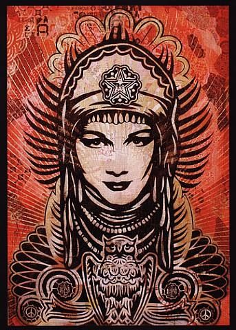 Shepard Fairey, Peace Goddess (one of these is definitely pasted up in Pittsburgh somewhere--I just can't remember where!)