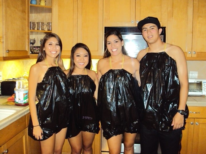 """trashbags for an """"Anything But Clothes"""" party!"""