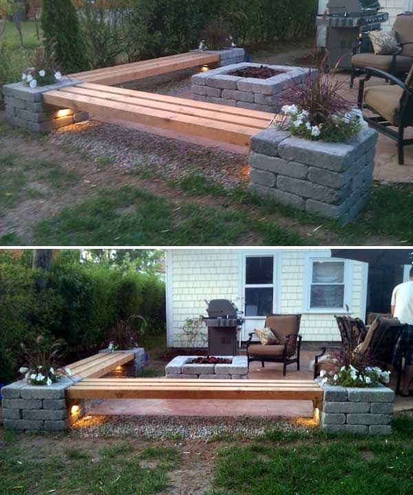 DIY corner bench around the firepit. Loving the lights under the benches | 31 Insanely Cool Ideas to Upgrade Your Patio This Summer