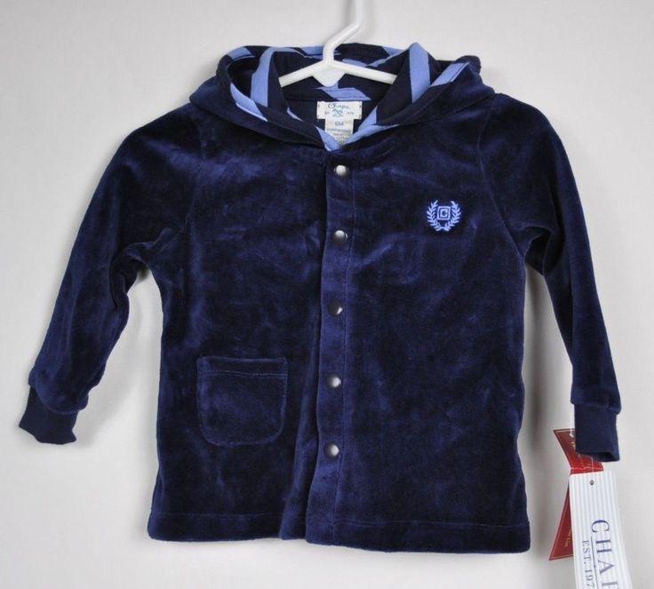 Chaps Ralph Lauren Baby Hoodie Jacket Velvet Top Blue boy Size 6M Retail $35 NWT #Chaps #Jacket #DressyEverydayHoliday
