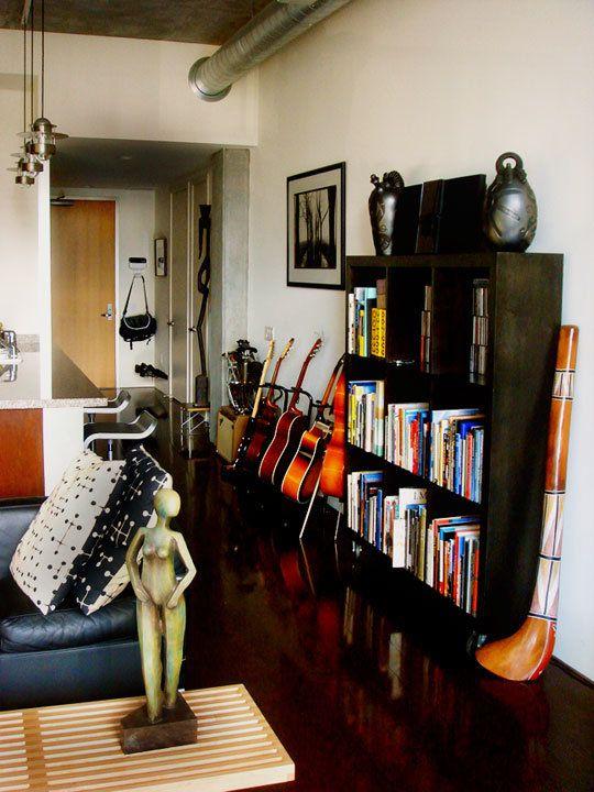 go for storage as display guitar standscreen designguitar roommusical instrumentsstorage ideasapartment