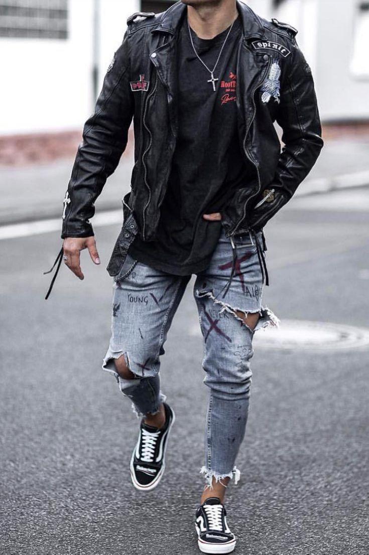 Urban Style Men Leather Jacket Outfit Men Mens Fashion Urban Jeans Outfit Men [ 1103 x 735 Pixel ]