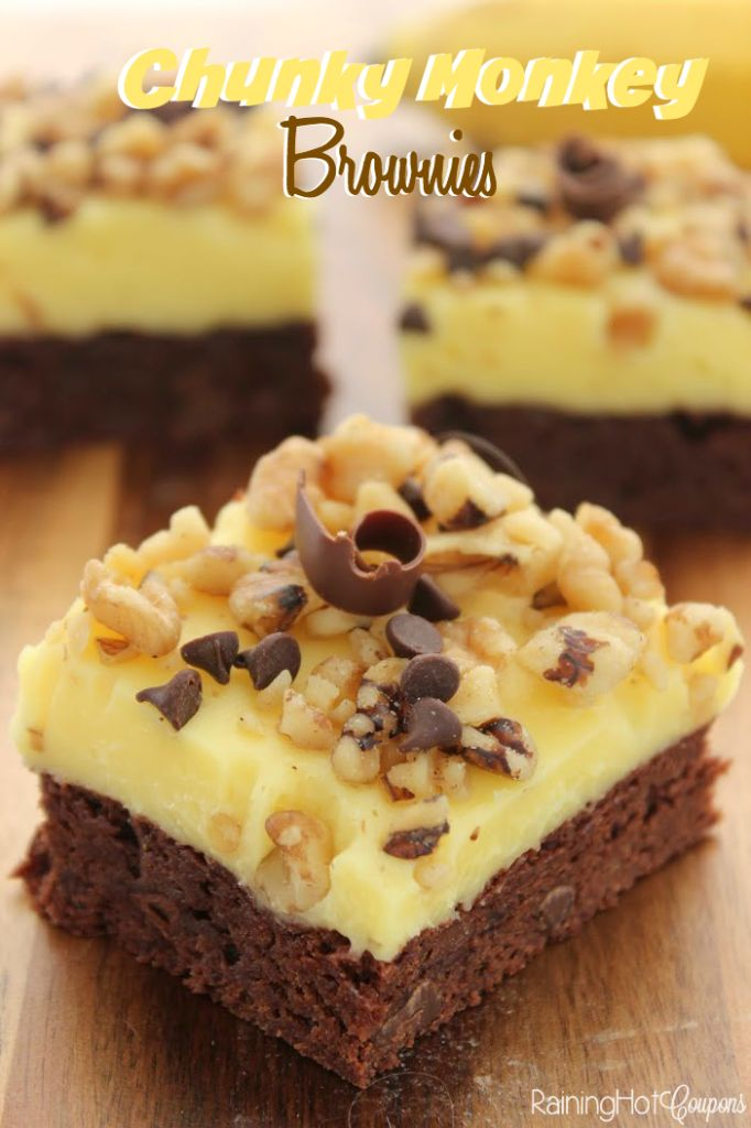 "Chunky Monkey Brownies - If you love brownies and bananas and chocolate then you will love this next recipe! If you've never had ""chunky monkey"" it's a delicious, creamy, banana flavored filling that goes well with chocolate."