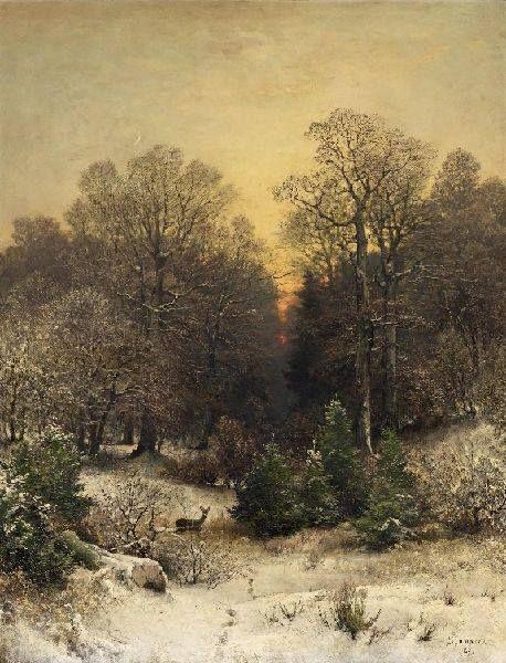Dusk over the winter forest by Sophus Jacobsen (1833- 1912)