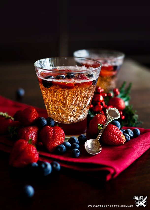 Moscato Champagne Dessert ~ named Jelly here ~  I cleverly made them in individual cocktail glasses, it turns out to be one of the most beautiful dessert I've ever seen! A Table For Two