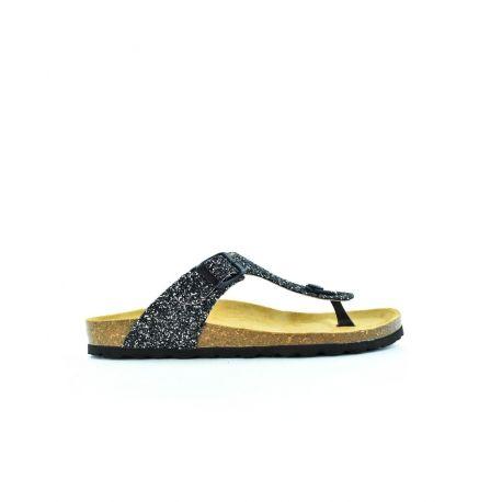 Tongs femme Plakton Bolero Glitter/Noir,en cuir glitter, à talon de 3 cm.Semelle agréable en cuir végétal bio,entre doigts à l'avant du pied et fermeture réglable à la cheville par une boucle.