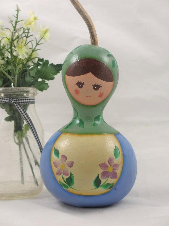 Babushka Matryoshka Russian Doll Gourd by KaoriKreations on Etsy, $18.50