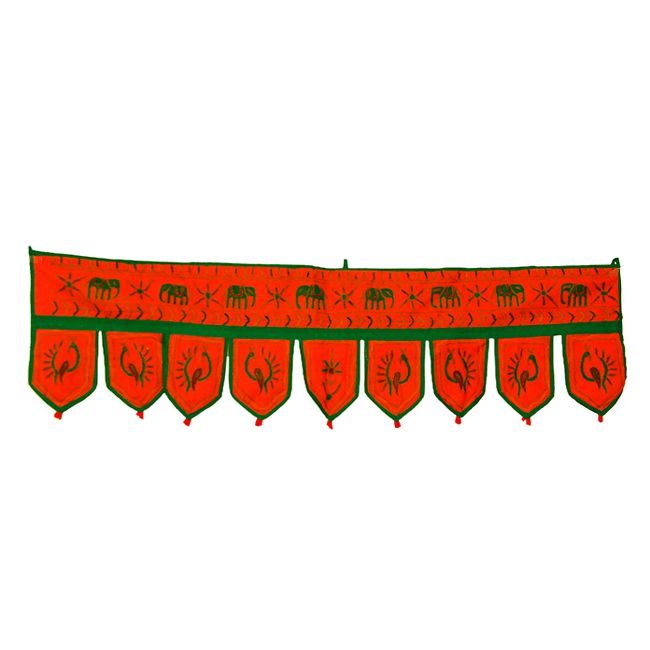 Wonderful Decorative Embroidered Peacock and Elephant Design Door Hanging Bandhanwar Toran Product Code :Peacock Door Hangings78 Size: 10 X 38 Inches Color: Orange Fabric: Cotton Item Description This beautiful door hanging will add warmth, color and style to any room in your home! $4.64