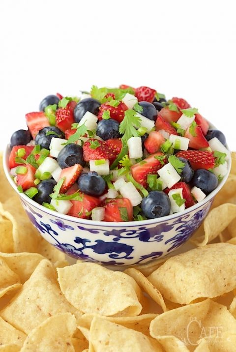 Red, White and Blue Salsa - it's bright, fresh, delicious; and oh so patriotic!