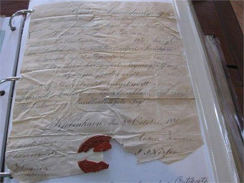 """Petersen/Larsen Family Tree: Victor Petersen's Danish """"Certificate of Carpentry Apprenticeship"""" , dated 1880. (In Danish)"""