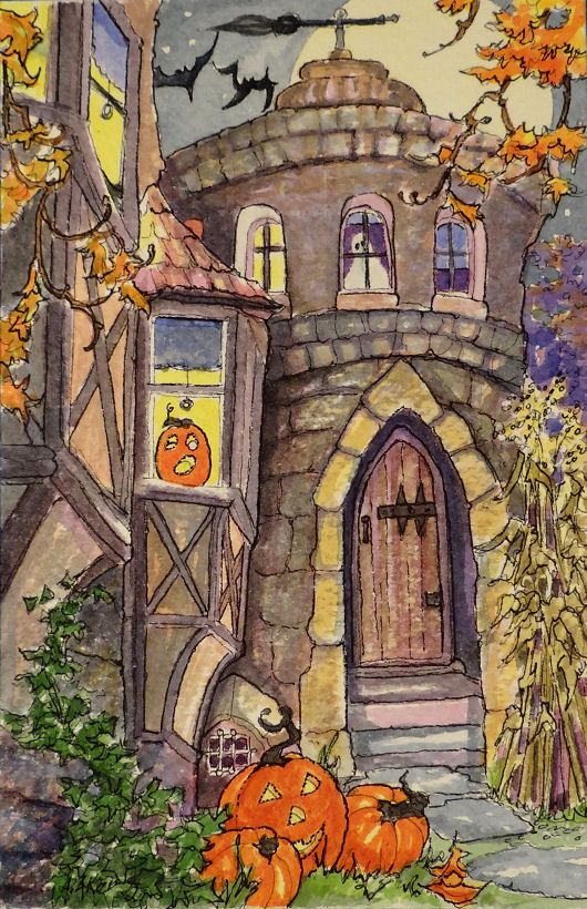 A Real Halloweeny House Halloween original by StoneHouseArtists