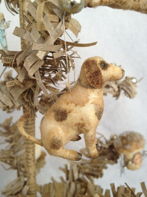 Cotton Batting Sitting Dog Feather Tree Ornament by Arbutus Hunter