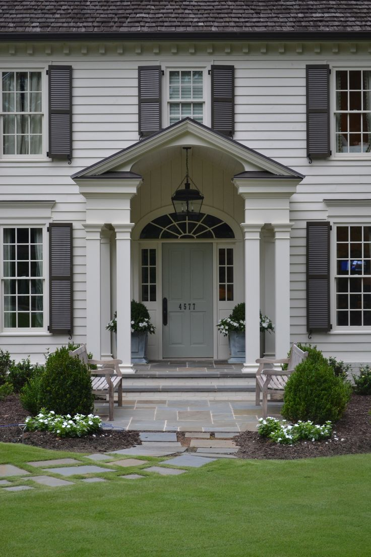 Painted front doors and shutters - Pictures Of Gray Houses With Colored Doors Grey Color By Sherwin Williams The Front Door Is By Farrow And Ball Pinterest Grey Houses And Gray