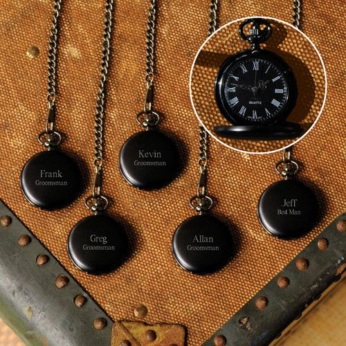These midnight pocket watches make the perfect gift for important men in your life. Your grandpa, father, uncle, brother, groomsman will all appreciate this keepsake gift. Have a close bond with a group of men? Buying this set of engraved pocket watches will bind you all together. Put a special message on each one as they can be engraved individually.